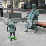 Brass cello musician and child sculpture