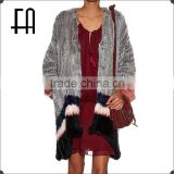 Factory direct wholesale price lady's color-block rabbit knitted fur jacket /rabbit knitted fur coat