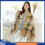2016 Women's Soft Tartan Checked Plaid Shawl Cape Blanket Shawl Wrap Scarf Poncho with Fringe Trims
