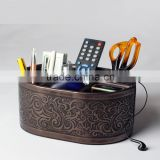 new type faux leather storage box / tv remote control holder / desktop/desk organizer/mobile phone holder for famile use