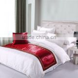elegant embossing polyester velvet style fabric bed runner for room decoration