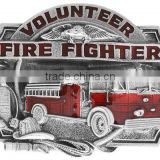 "Lead & Nickel Free ""Volunteer Firefighter"" And Displays A Red Enamel-Filled Firetruck Metal Fridge Magnet                                                                         Quality Choice"
