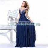 Actual Pictures! Stock 2015 Blue Charming Elegant Chiffon Appliques Natural long prom dresses for party new arrival
