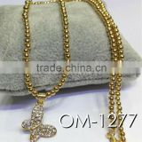2014 Glitter ball beads with butterfly pendant necklace jewelry wholesale china