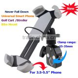 "Never Fall Down Metal Universal Smart Phone Golf Cart Stroller Scooter Bike Mount for 3.5-5.5"" Phone Bicycle Holder with Strip"
