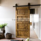 Shaker style stained 4 panel sliding barn doors for home with cheap black classic sliding wall mounted hardwares