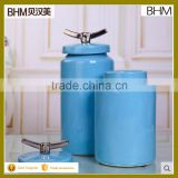 2016 Chinese Landscape painting blue glazed ceramic tea/coffee canister