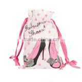 Factory competitive price satin shoe bag printed satin drawstring shoe bag custom printed drawstring shoe bags