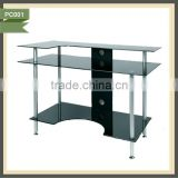 metal frame computer table glass computer desk monitor stand