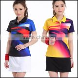 Free Custom Jersey or Badminton Sport Wear and Womens Badminton Wear with polo neck and factory prices