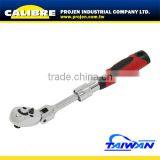 CALIBRE 1/4Dr 72 Tooth Fine Ratchet Action Flexi-Head Quick Release Soft Grip Handle Mechanism Extendable Ratchet