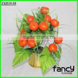 15 heads cheap wholesale small artifiicial plastic manufacturing foam orange plant with tray for home decoration