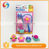 Garden Crop game rubber baby bath toys with net fishing