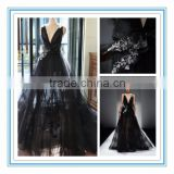 Sexy Tulle Deep V Black See Through Long Backless Evening Dress Prom Dresses(SH1006)