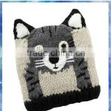 cat face design knit baby hat/baby girl hats/beanie cat ears