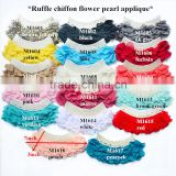 good quality pearls dress collar applique / ruffle chiffon fabric flower