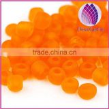 4mm orange frosted irregular round glass seed beads