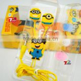3.5MM Cartoon Despicable Me Minions Small Yellow Man Headphone Universal Earphone Headset for MP3/MP4 player 200pcs