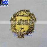 Custom embossed metal logo/self adhesive embossed metal label/ wine bottle embossed metal sticker
