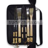 Mirror polishing comfortable grip handle bbq tool set with nylon carrying case apron design bag bbq