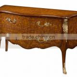 Exquisite Handmade French Versaille Solid Wood Bombe Chest Painted with Brown Lacquer and with Golden Brass Decor BF12-04254a