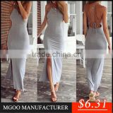 MGOO New Design Fast Fashion Brand Woem Silt bodycon Long Backless Shealth Slip Dress Gray Elegant Cocktail Dress