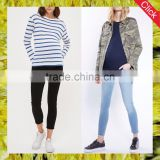 New style fashion wholesale slim fit stretch maternity wear clothes bump raw hem leigh denim jeans for pregnant