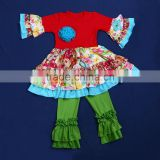 Brand Name Remake Kids Spring Cotton Outfits Baby 2pcs 3/4 Sleeve &Ruffled Pants Outfit QL-270