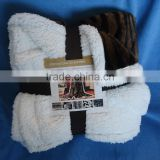 polyester printed with tiger skin pv fleece sew with sherpa ribbon & color card insert pv fleece sherpa blanket