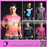 2017 Fashion Design Hot Sale 3D Printed Super Hero Compression T shirt