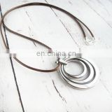 Leather Concentric Rings Necklace Christmas Gift For Mom-Bohemian Stainless Steel necklace