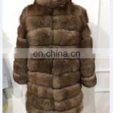 2016 Natural blue fox fur istanbul with removeable sleeve long style fur coat for women 11.11