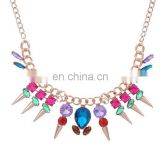 Fashion colorful bead rivet necklace Fashion jewellry silver/chain jewellry necklace