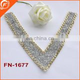 fashion heart shape metal hot-fix diamond collar for dress