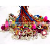Handmade Crafted Pom Pom Mirror Beads Work Shell Handbag Reversible Lot Of 5 PC's Key Chain