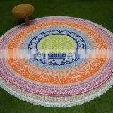 Indian wholesale mandala wall hanging roundie 100% cotton round table cloth