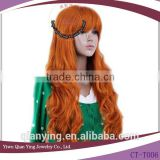 beauty long curly brown anime cosplay wig for wholesale