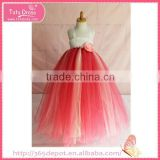 Bowknot handmade children dress factory fluffy voile girl's dress children frocks designs