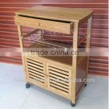Bamboo Kitchen Cart with Drawer&Door