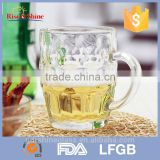 High quality large glass beer mugs with handles/glass mug