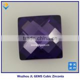 Hot Sale Synthetic Fat Square /Cushion Cut Double Checker Amethyst Cubic Zirconia Gemstone