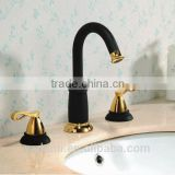 "2014 new design artistic classic style deck mounted 8"" widespread dual lever bathroom basin sink faucet"
