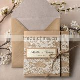 Hot sale elegant & personalized kraft paper lace wedding invitations with ropes & label papers                                                                         Quality Choice