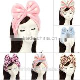 High quality korea style flannel bow headband washing a face mask hair hoop makeup girl hair band with dot