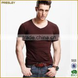 Hot sale Men's short sleeve slim fit gym t shirts softextile cotton solid color t shirts
