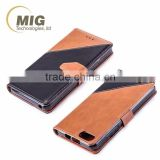 New Double color PU wallet leather case with strap stand case with inside TPU cover free sample casefor iphone 6