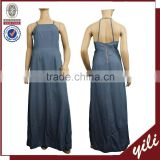 Backless adjustable blue color washed maxi women denim dress DD150932698