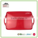 Good quality 19 inch beautiful red square plastic melamine serving tray plates