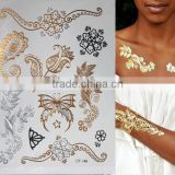 fashion flower temporary henna gold and silver tattoos metallic bracelet stickers Flash tattoo body art