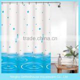 Hotel Use Blue water drop ripple Print Waterproof PEVA Shower Curtain